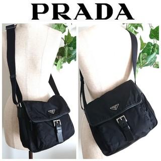 プラダ(PRADA)の美品 プラダ 斜め掛け ショルダーバッグ ナイロン 本革 黒 レディース メンズ(ショルダーバッグ)