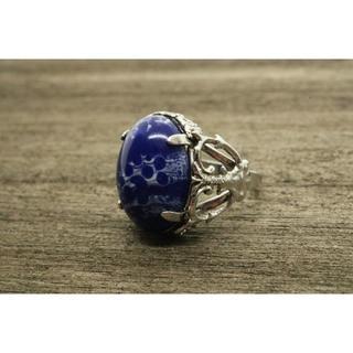 【T631】KERP 刻印 焼き物 デザイン ストーン リング 指輪 9号 陶器(リング(指輪))