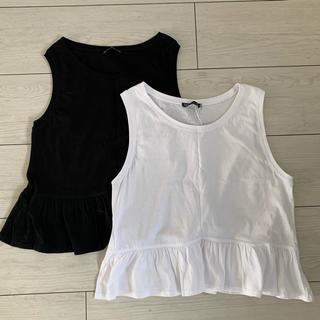ZARA - ZARA 裾フリル ペプラム ノースリーブ Tシャツ