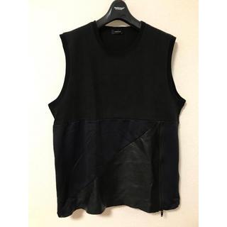 アンダーカバー(UNDERCOVER)のUNDERCOVER 14SS レザー切替ノースリーブ(Tシャツ/カットソー(半袖/袖なし))