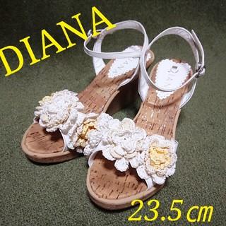 DIANA - 美品 DIANA 厚底ウェッジサンダル お花モチーフ 23.5㎝