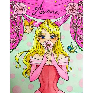 ディズニー(Disney)の手書き イラスト オーロラ姫(アート/写真)