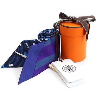 エルメス(Hermes)のHERMES ツイリー シルクスカーフ シルク ブルー マハラニの庭 A2124(バンダナ/スカーフ)