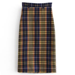 ザラ(ZARA)のイエローチェック柄☆タイトスカート(ひざ丈スカート)