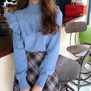 sale♡春トップス♡韓国系♡フリルニット♡セーター