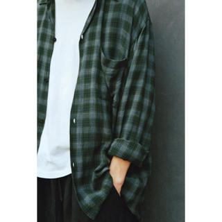 COMOLI - comoli 20ss レーヨン オープンカラーシャツ グリーン チェック