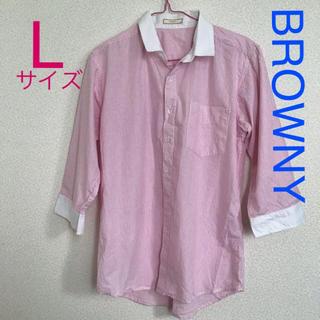 ブラウニー(BROWNY)のストライプシャツピンク(シャツ)