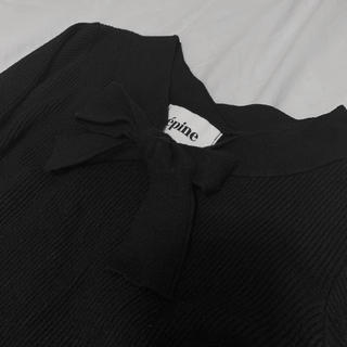 ロキエ(Lochie)のepine リボンニット ブラック(ニット/セーター)