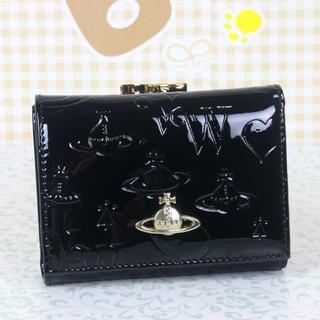 ヴィヴィアンウエストウッド(Vivienne Westwood)のヴィアンウエストウッド 折財布 がま口財布 エナメル  ブラック(財布)