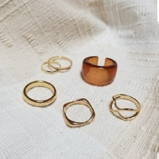 BEAUTY&YOUTH UNITED ARROWS - ゴールド シルバー リング 指輪 セット  重ね付け ミル チェーン クリア