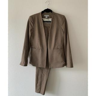 H&M - H&Mチェック柄セットアップノーカラージャケットパンツスーツ