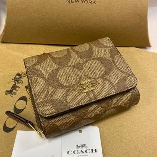 COACH - 【新品・ラスト1個】コーチ レディース F41302 三つ折財布 カーキ×サドル
