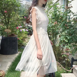 GRL - GRL レース×チュールドッキングワンピース ホワイト 白 韓国ファッション
