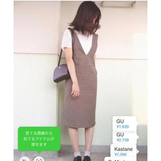 GU - GU チェックワンピース ジャンパースカート ☆Sサイズ
