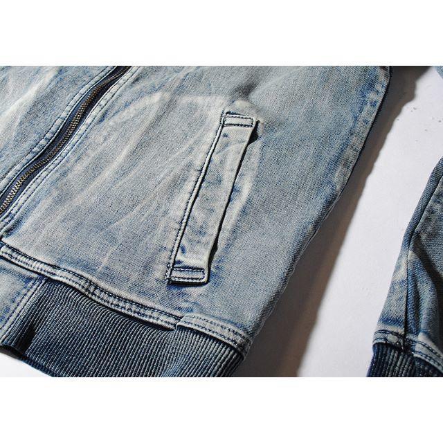 Ron Herman(ロンハーマン)のインディゴカットデニムMA-1ジャケット ブリーチM Gジャン 新品 メンズのジャケット/アウター(Gジャン/デニムジャケット)の商品写真
