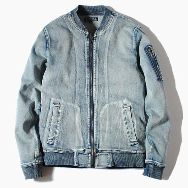 Ron Herman(ロンハーマン)のインディゴカットデニムMA-1ジャケット ブリーチL Gジャン 新品 メンズのジャケット/アウター(Gジャン/デニムジャケット)の商品写真