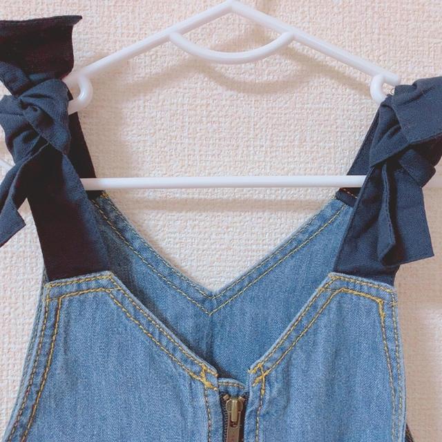 F.O.KIDS(エフオーキッズ)の肩リボンサロペットスカート キッズ/ベビー/マタニティのベビー服(~85cm)(ワンピース)の商品写真