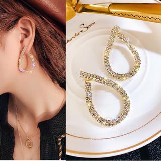 キラキラCZダイヤ雫ピアス 高級感 上品 エレガント S925 綺麗 ゴールド(ピアス)