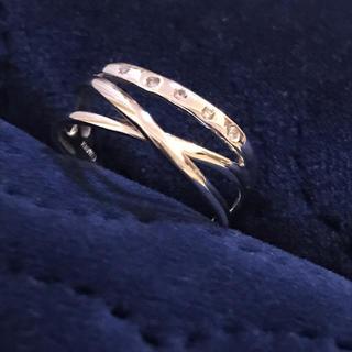 三連リング風 ホワイトゴールドリング ♯14(リング(指輪))