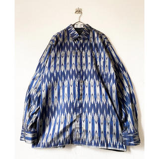 COMME des GARCONS - vintage ヴィンテージ 90s ネイティブ 総柄 青 シャツ ジャケット