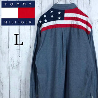 TOMMY HILFIGER - 【美品】【トミーヒルフィガー】シャンブレーシャツ☆星条旗☆L☆インディゴブルー