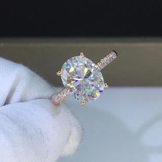 【newデザイン】輝くモアサナイト ダイヤモンド リング K18PG(リング(指輪))