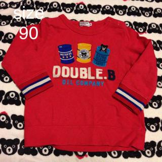 ダブルビー(DOUBLE.B)の☆ダブルB アップリケトレーナー 赤 90(Tシャツ/カットソー)