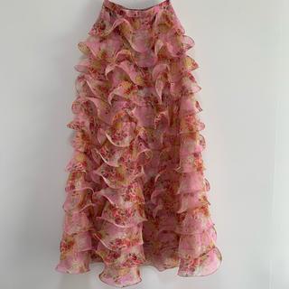 Lochie - vintage ひらひら花柄ロングスカート