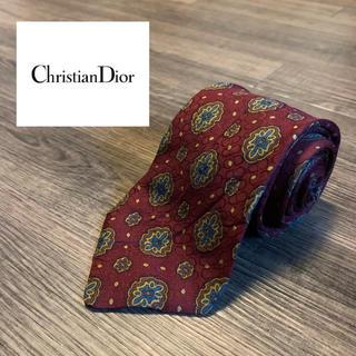 Christian Dior - Dior ディオール ブランド ネクタイ レッド えんじ 小紋 ドット ロゴ