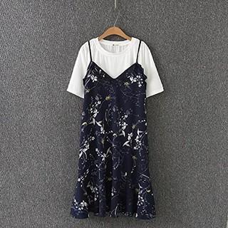 5L 新品 半袖Tシャツ+キャミソールワンピース 紺 大きいサイズ 膝丈 花柄(ひざ丈ワンピース)