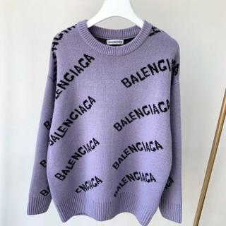 Balenciaga - BALENCIAGA オールオーバー ロゴ クルーネック ウールニット