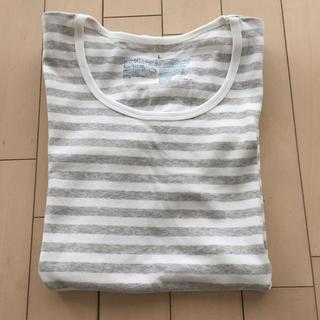 ムジルシリョウヒン(MUJI (無印良品))の無印良品  ボーダーTシャツ グレー×白(Tシャツ(半袖/袖なし))