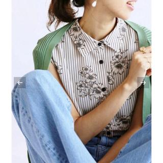 IENA - IENA ストライプフラワー ノースリーブシャツ ブラウス
