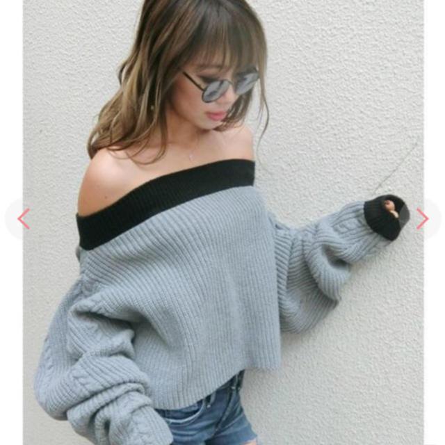 GYDA(ジェイダ)のGYDAバイカラーオフショルニット レディースのトップス(ニット/セーター)の商品写真