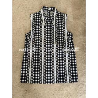 miumiu - miumiu ♡  2016 白黒チェック フラワー  襟付ノースリーブ シャツ