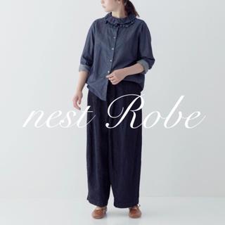 nest Robe - *nest Robe * 2019   コットンデニムフリルカラーブラウス