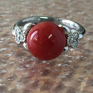 珊瑚9ミリ  ダイヤモンドリング