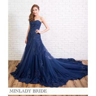 【新品】ハートカット ネイビー カラーウェディングドレス  #ma390