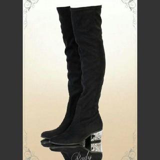 レディー(Rady)のRady ビジューローヒールニーハイブーツ(Lサイズ/ブラック)(ブーツ)