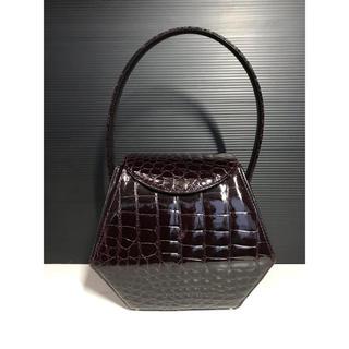 Crocodile - 美品 JRA公認 シャイン リアル クロコダイル ハンドバッグ