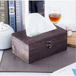 オシャレ◇木製 ティッシュ ボックス アンティーク調 レトロ ビンテージ 茶色