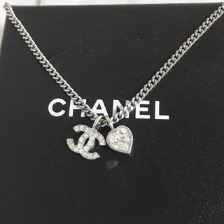 CHANEL - 正規品 シャネル ネックレス ハート シルバー ココマーク ラインストーン 銀2