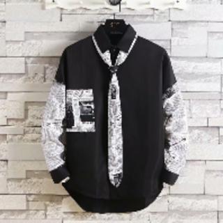 人気!ニュースペーパーシャツ 柄シャツ ブラック モード系 オルチャン