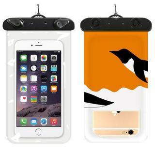 スマホ防水ケース 防水カバー iPhoneケース ペンギン(モバイルケース/カバー)