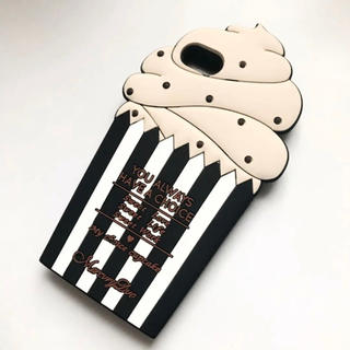 新品 未使用 iPhone7 ケース アイスクリーム 黒 かわいい ケーキ