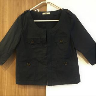 Re* ブラック ジャケット(ノーカラージャケット)
