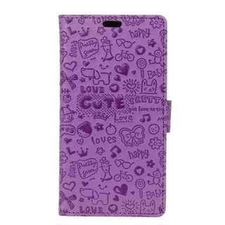 スマホケース パープル iPhone 手帳型 キュート かわいい 横置き 保護
