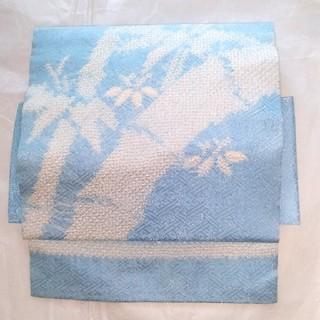美品 正絹 水色 絞り 綸子 竹 笹柄 付け帯 名古屋帯