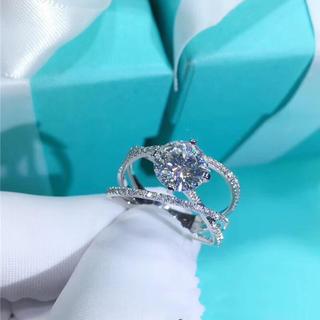 【newデザイン】1カラット  モアサナイト ダイヤモンド リング K18WG(リング(指輪))