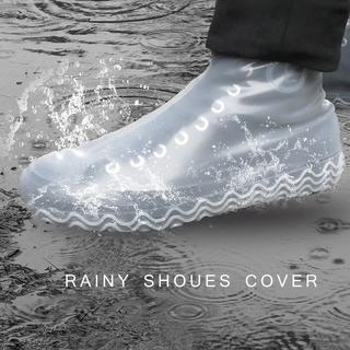 レイン シューズカバー M 女性用 防水  防災 雨対策 靴カバー シリコン 白(レインブーツ/長靴)